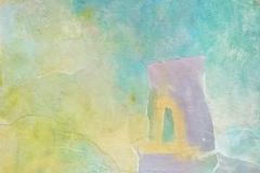 """Unfamiliar Pathways (Celadon series) - Acrylic paint, collage 12x12"""""""