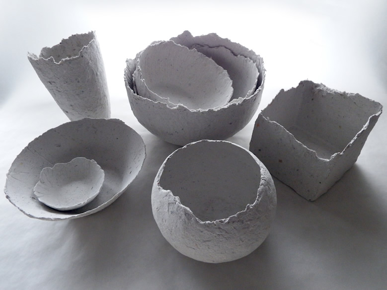 bowls made from the new papier maché clay recipe