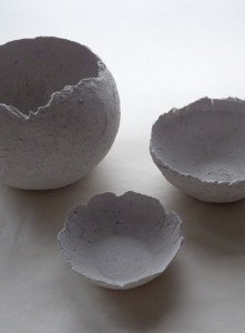Three papier maché clay bowls