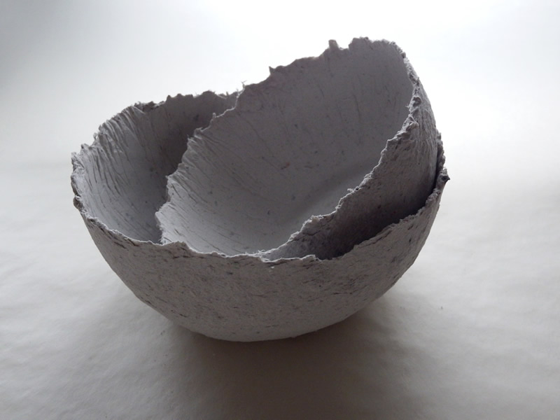 Two bowls made with the new papier maché clay recipe
