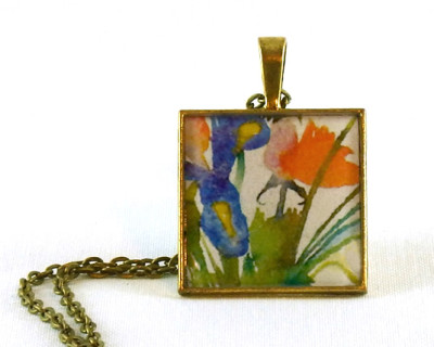 "Watercolor Wildflowers 2 resin pendant  1"" square"