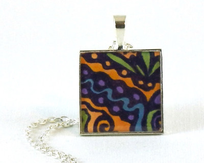 "Zen Graffiti 5 resin pendant  1"" square"