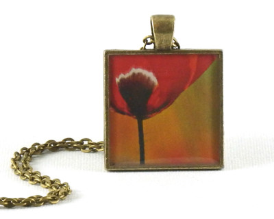 Ay! Poppy handmade one-of-a-kind resin pendant