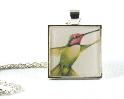 Hummingbird handmade one-of-a-kind resin pendant