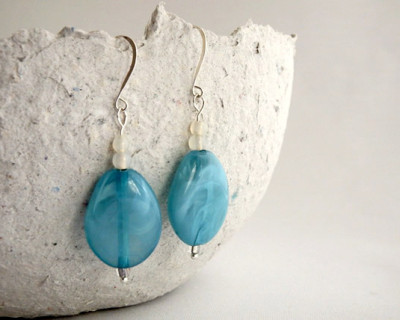 Blue swirl oval dangle earring with silver plated French hooks