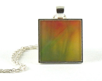 Meadow, Red and Green, handmade, one-of-a-kind resin pendant