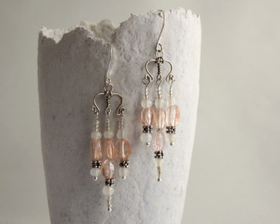 Pink chandelier boho style earrings with silver plated French hooks