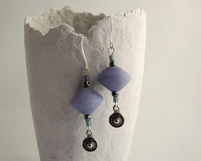 Purple dangle earring with handmade polymer clay beads and Bali style sunburst charms