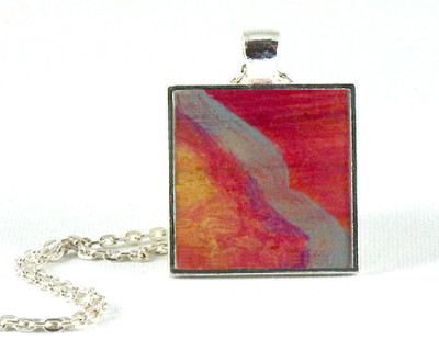 Silver Streak handmade one-of-a-kind resin pendant from original artwork