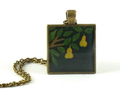 Where's the Partridge? Handmade one-of-a-kind resin pendant