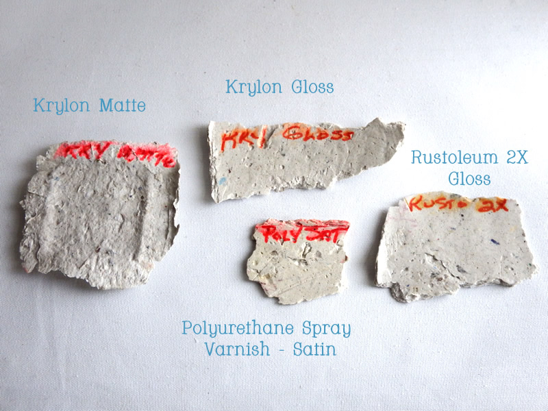 "Papier maché clay testers for ""clear"" spray finishes"