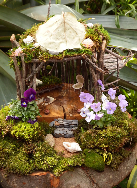 Fairy house with polished wood, stone stairs, moss and shell chairs