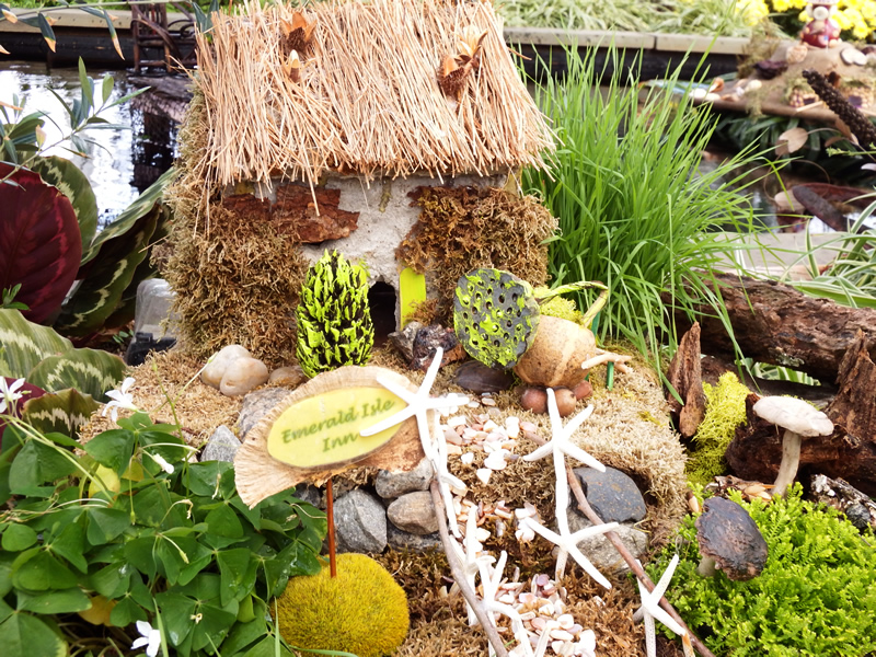 Fairy garden with thatched roof and Irish theme