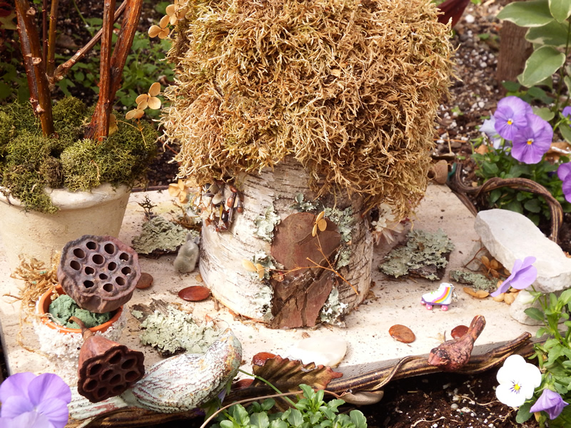 Fairy garden with birch bark, moss and seed pods